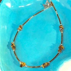 Vintage Tiger Eye Chip & Glass Beaded Necklace